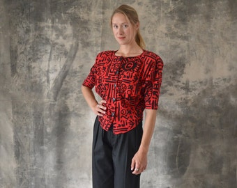 1980s Red and Black Geometric Graffiti Shirt size S
