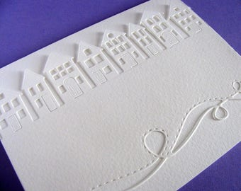 Houses in a Row and Swirly Border on Creamy Ivory Card / Home Sweet Home / It Takes a Village / Neighbourhood / Our Town / Ready to Ship