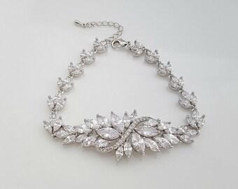 Crystal Bridal Bracelet, Wedding Jewelry, Wedding Bracelet, CZ Bracelet, Crystal Bracelet for Brides, Bridal Jewelry, Eden