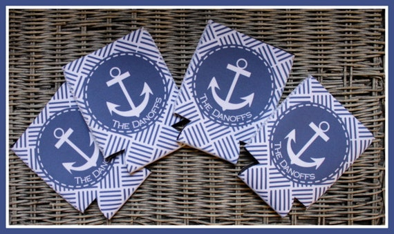 Nautical Anchors Custom Can Coolers, Personalized Monogram Can Coolies, Beverage Insulators, Beach House, Housewarming Gifts, Beach Trip