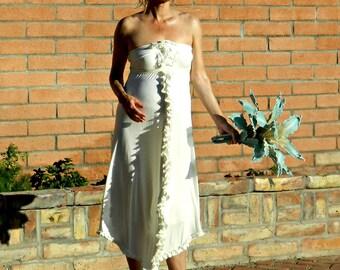 Pregnant Bride Wedding Dress-Wedding Gown Strapless Tea Length Ada Boho Chic A Line Sheath-Modern Bridal Clothing-All Body Types