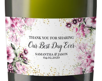 Wedding Mini Champagne Label, Our Best Day Ever!, Mini Champagne Wedding Labels, Mini Champagne Labels for Wedding #177