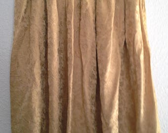 Vintage Gold Brocade Pleated Full Skirt Sz S Pin Up 1950s