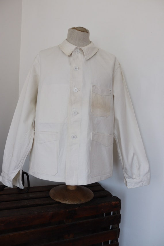 "Vintage 1960s 60s french deadstock white painters jacket thick cotton twill 49"" chest blanc de travail workwear work chore"