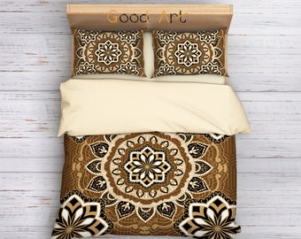 Mandala bedding, Mandala duvet bedding set, Beige and Brown boho mandala bedding, Bohemian bedroom, bohemian decor, Mandala Bedding