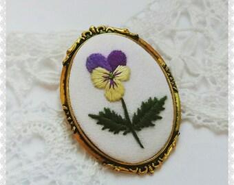 PB Pansy brooch