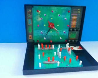 Upcycled Battleship Game Board Clock, Repurposed, Vintage Game, Battleship, Recycled, Functional Art, Made By Mod.
