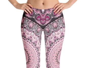 Pink and Black Leggings, Handmade Yoga Pants Gifts for Her, Custom Leggings for Women, Yoga Leggings Mandala Fashion Tights