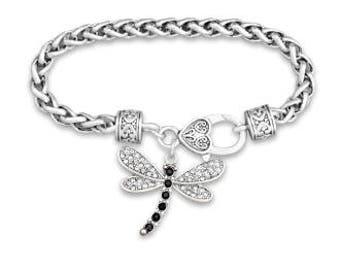 Dragonfly Rhinestone Charm Bracelet