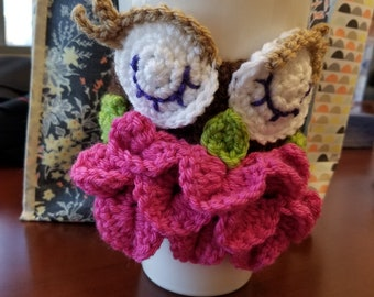 Cup Cozy, Owl Cup Cozy, Owl mug cozy, Mug cozy, Mug cover, Mug warmer, cup warmer, Owl gift idea, ladies gift, mother's day gift idea