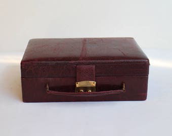 Vintage Jewelry Box - Brown Leather Jewellery Box - Jewelry Storage - Jewelry Case - Jewellery Box Storage  1950s - 50s