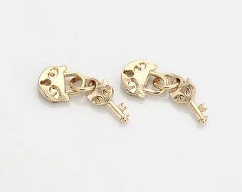 Heart Lock and Key Pendant Polished Gold -Plated- 2 Pieces [TT0047-PG]