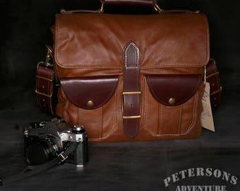 Brown leather Underwood camera messenger crossbody shoulder bag -  by Petersons Adventure Gear