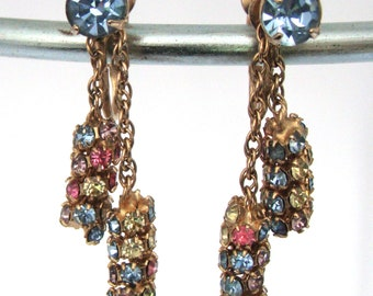 Vintage Signed Kramer Rhinestone Dangle Earrings