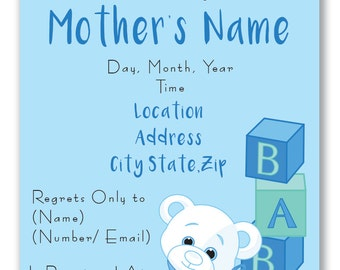 Customizable Bear and Blocks Baby Shower Invitation [Digital File ONLY]