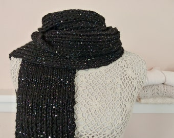 """Black Sparkly Long Scarf in Ribbed Knit - Chunky Hand Knit Scarf, the """"Milky Way Scarf"""" - Item 1508"""