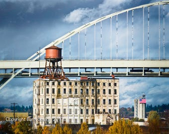 View of Fremont Bridge looking North in Portland Oregon