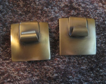 Vintage Copper Modernist Earrings Clipback