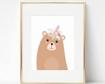 Woodland baby, Girl woodland nursery, Boho nursery, Woodland nursery, Nursery wall art, Nursery printables, Baby animal prints, Baby Bears