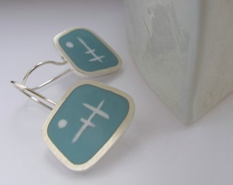 Pale Blue  Earrings - Square Silver Earrings - Aqua Blue Resin Jewelry - Graphico Short Drop Earrings Atomic