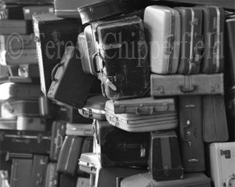 Black and White,Vintage Suitcase Sculpture, Art Photo Print,Towers of Luggage, Mod Fun Home Decor, Canvas Wall Art, 8x12,24x36,20x30,12x18