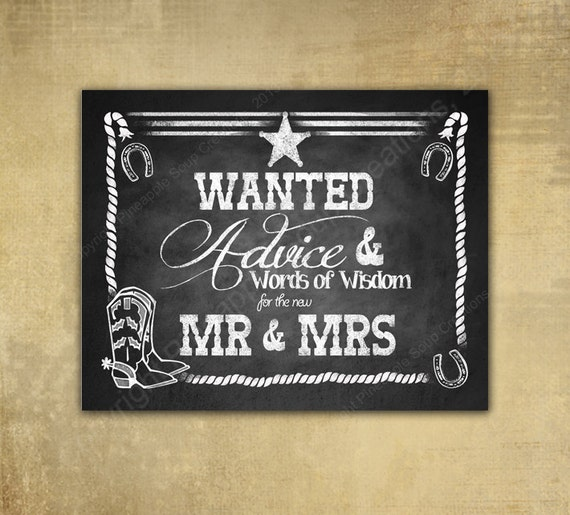 PRINTED Western ADVICE Wedding sign - Chalkboard signage - 3 sizes available with optional add ons