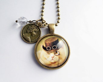 Steampunk Cat Necklace - Art Pendant -  You Choose Bead and Charm - Custom Jewelry - Fancy British Cat - Beige Cat - Animal and Pet Jewelry