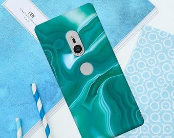Green marble, oil case, XZ case, marble case, XZ1 case, XZ1 Compact, XZ2 cover, stone case,  XZ2 Compact, Z3 case, Xa case, Xa2 case, Z5