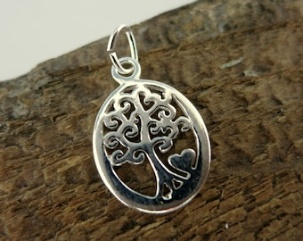 Tree of Life with Heart Charm, Sterling Silver Charm, 11x16mm, Ready to Ship!