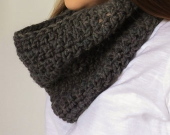 Charcoal Thick Alpaca / Merino Wool Blend Crochet Chunky Infinity Scarf • Ready to Ship • Fall & Winter Weather Scarf
