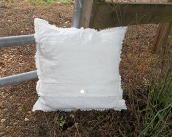 White Linen Pillow Custom Sizes Decorative Pillow Raggedy Deconstructed Pillow Cover French Country French Farmhouse Torn Edge Bed Pillows