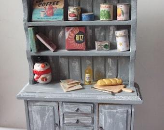 Dollhouse Miniature Rustic Kitchen Hutch, scale 1/12