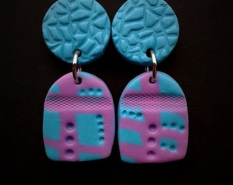 Polymer clay earrings / Abstract earrings / Turquoise and Pink earrings / Statement earrings / Contemporary Earrings / Gift for her