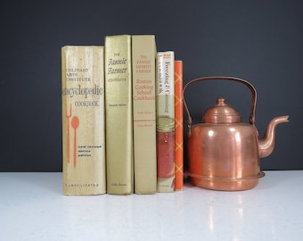 Vintage Set of Cookbooks // Instant Collection of Five Retro Cookbooks Mid Century Kitchen Decor Recipes Fannie Farmer Culinary Arts Canning