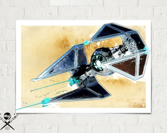 Tie Fighter - Star Wars - Art Print, Star Wars poster, Star Wars Watercolor, Star Wars Gift, Star Wars Art, Star Wars Decor, fan art