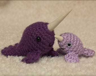PATTERN: Mr. Narwhal & Baby Narwhal crochet amigurumi pattern // unique polymer clay horn // instant download