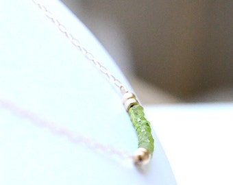 Peridot Necklace, August Birthstone, Delicate Peridot Necklace, Gemstone Bar Necklace, August Birthday,Green Peridot Jewelry,14K gold filled