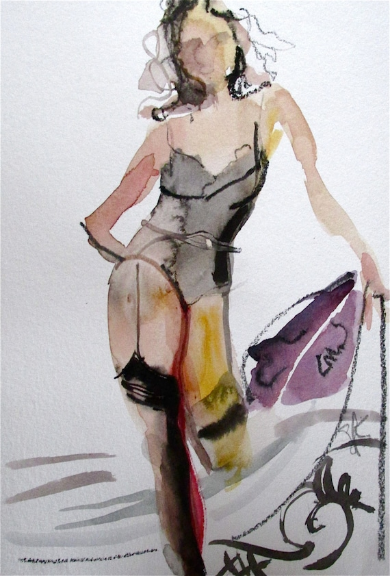 Nude Painting of Boudoir Session 2.7 original watercolor nude painting by Gretchen Kelly