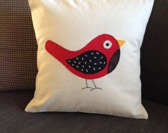 Hand embroidered cushion cover - Hand appliqué cover- little red bird - Bird cushion cover-Home -Soft furnishing- Mothers day gift