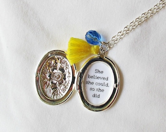 Quote Locket Necklace She Believed She Could So She Did - Tassel Bridal Customized Jewelry Jewellery - Typography Bookworm Gift Bookish