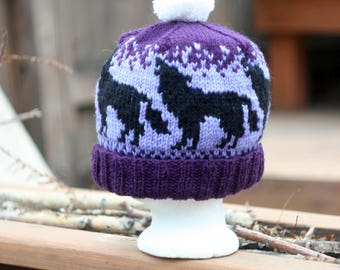 Wolves Howling At the Moon Hand Knit Wool Hat