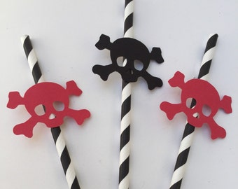 Pirate Paper Straws: 10 Red and Black Stripped Paper Straws, Pirate Party Straws, Pirate Party Supplies
