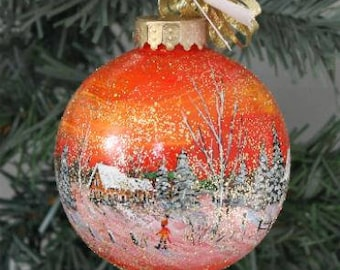 Christmas Decor Ornament - Hand Painted Ornament - Winter Scene Ornament - Hand Painted Ornament - Christmas Gift - Best Friend Gift