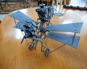 Mid Century Modern Metal Biplane Steampunk Flying Machine Sculpture Manner of Quayle