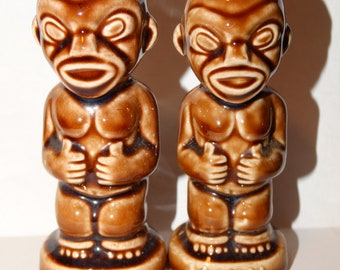 Vintage Tiki Salt & Pepper Shakers, Tiki Gods, Hawaiian Salt and Pepper Shakers, Luau Shakers, Tropical Salt Shaker, Pepper Shaker