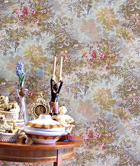 Dollhouse Miniature Wallpaper, Ava, Scale One Inch