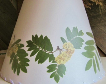 Rowan Lamp Shade, Botanical Lampshade, Pressed Mountain Ash Leaf and Flower, Sacred Tree Wood, Wiccan Pagan Druid Celtic Folklore Traditions