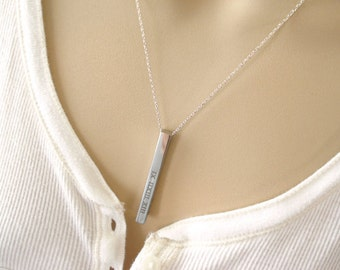 Personalized Vertical Silverr bar necklace...Engraved 3D Bar, sorority, best friend gift, wedding, bridesmaid gift