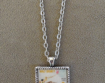 1968 Walt Disney Small World Stamp Pendant with Chain