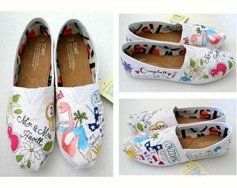 Bride's Love Story Shoes Wedding Shoes Hand Painted Shoes Bride's Wedding Shoes Unique Wedding Gift Flamingo Wedding Shoes Custom TOMS